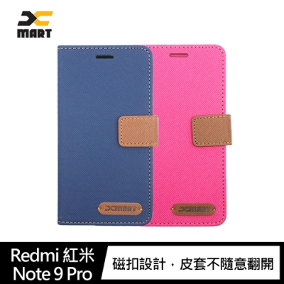 XMART Redmi 紅米 Note 9 Pro 斜紋休閒皮套