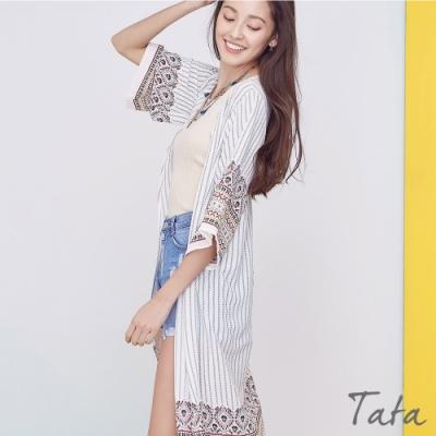 民族風圖騰印花長版罩衫外套 TATA