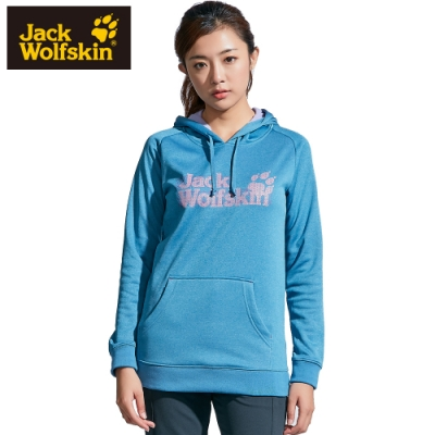 【Jack Wolfskin 飛狼】女 連帽長袖排汗T恤 長版 (內刷毛保暖)『藍』