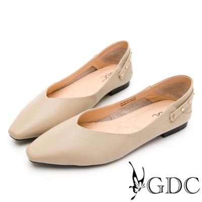 GDC-就是極簡約素色基本百搭實穿鉚釘真皮平底尖頭鞋-卡其色