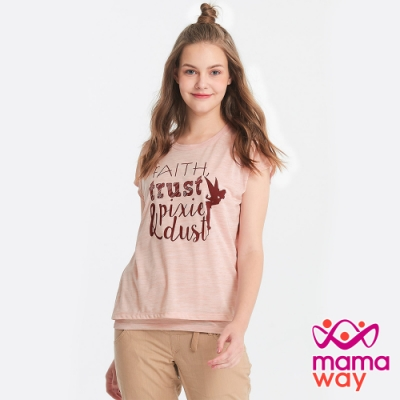 【mamaway 媽媽餵】迪士尼奇妙仙子-哺乳背心+棉T(麻花粉橘)