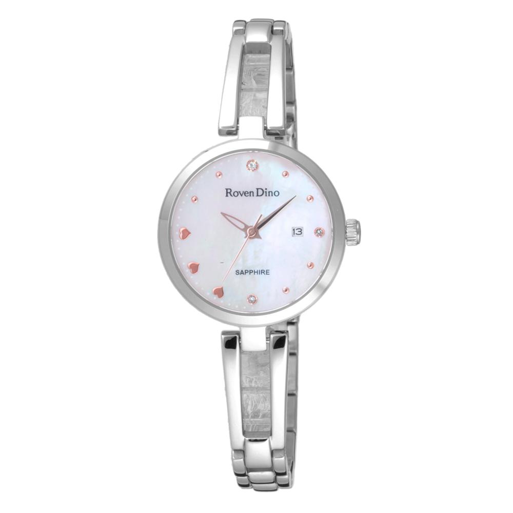 Roven Dino羅梵迪諾 心心相印晶鑽貝殼面腕錶-銀(RD772S-298W)