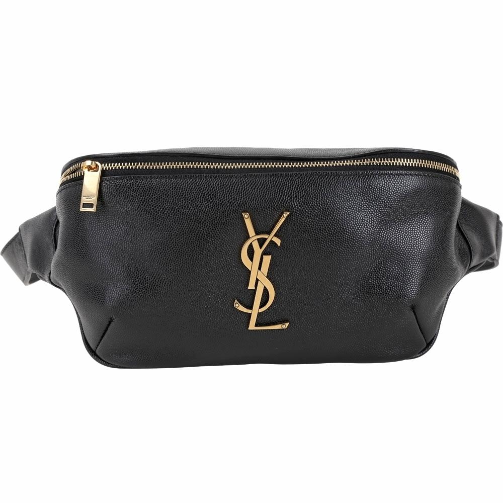 YSL Saint Laurent MONOGRAM 金字魚子醬牛皮肩胸包/腰包(黑色)