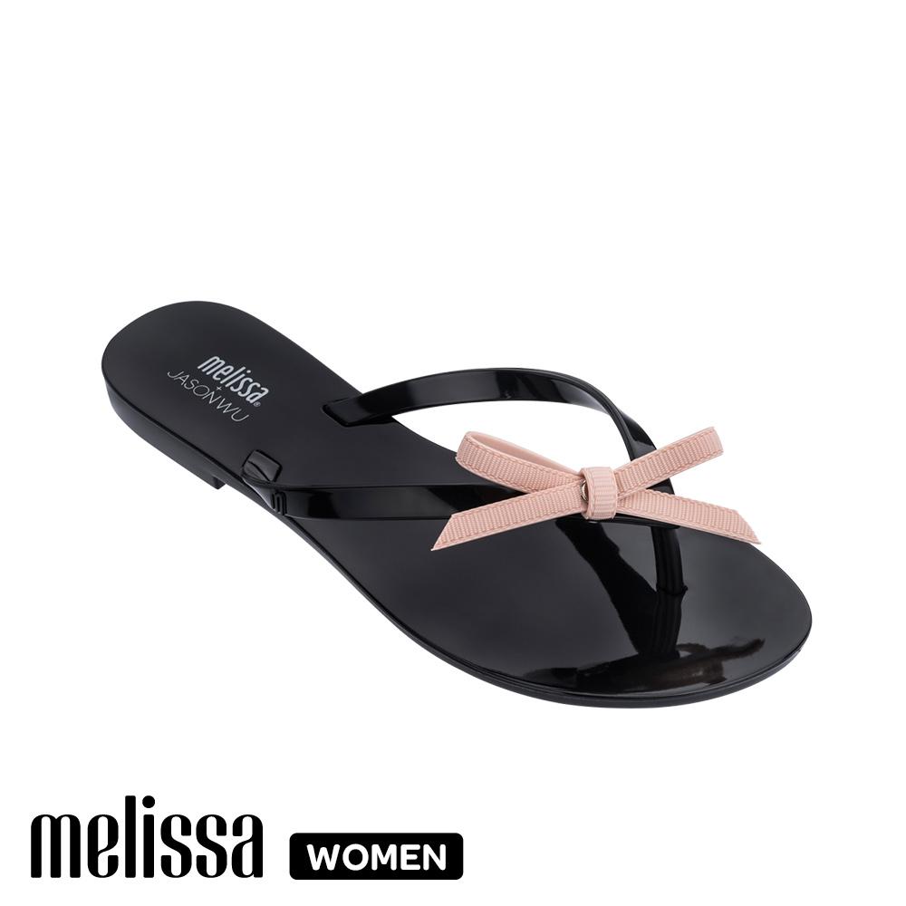 Melissa JASON WU聯名款 蝴蝶結質感撞色涼拖鞋-黑