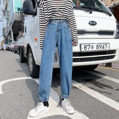 活潑青春斜插口袋金屬環扣縮口牛仔褲L-4XL-KVOLL