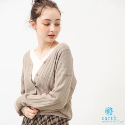 earth music 【SET ITEM】壓紋開襟針織罩衫+蕾絲拼接V領上衣