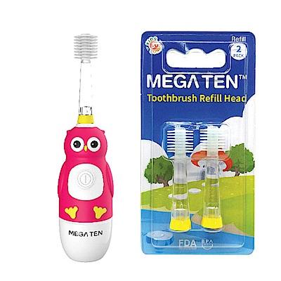 日本Mega Ten幼童電動牙刷貓頭鷹+專用刷頭(2入)