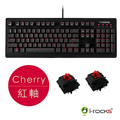 i-Rocks IRK65MS單色背光機械式鍵盤-德國Cherry紅軸
