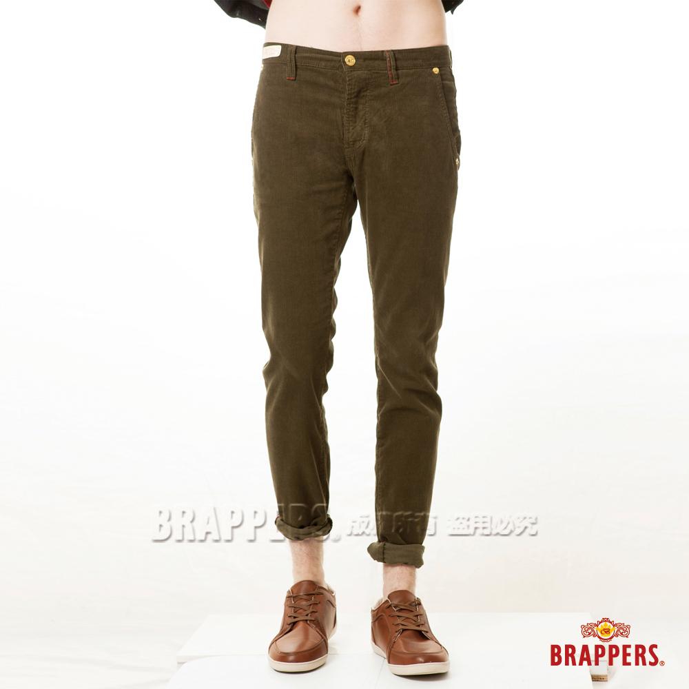 BRAPPERS 男款 新美腳Royal系列-中低腰彈性條絨直筒褲-墨綠