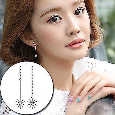 梨花HaNA 韓國S925銀針太陽花下的告白氣質長耳環