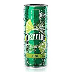法國沛綠雅Perrier 氣泡天然礦泉水-萊姆風味 鋁罐 (250mlX30入)