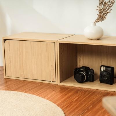 樂嫚妮 收納櫃/空櫃/書櫃/門櫃-層板可抽-楓木色2入組