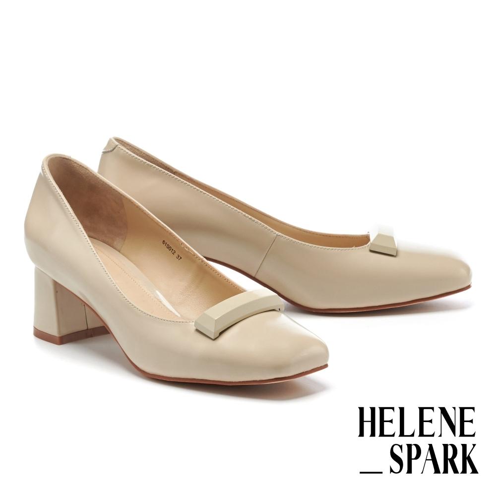 高跟鞋 HELENE SPARK 復古潮流極簡純色烤漆長釦牛皮方頭高跟鞋-米