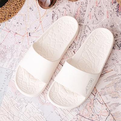 ATTA 簡約清盈★舒適幾何紋室外拖鞋-白色
