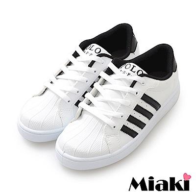Miaki-休閒鞋.MIT經典時尚小白鞋-白黑