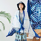 潘克拉 手工藍染萬用防曬大披巾-漸層-藍色