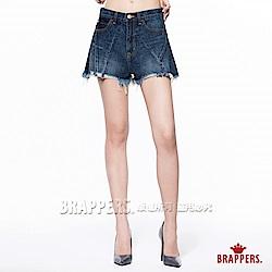 BRAPPERS 女款 新美腳Royal系列-女用中低腰拼接寬版短褲-藍