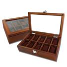 10入手錶收藏盒 配件收納 腕錶收藏盒 實木質感 - 胡桃木色
