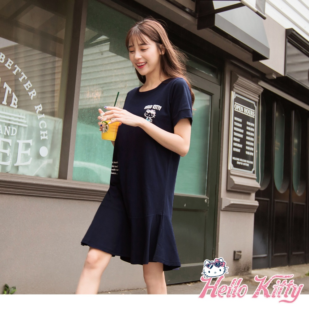 夏日Kitty印圖高含棉長版荷葉洋裝-OB嚴選
