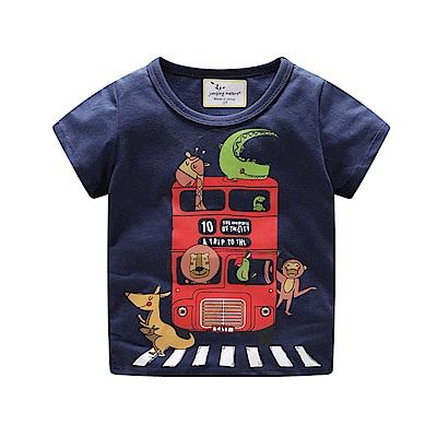 男童 中小童 歐美風格舒柔棉短袖T恤-大巴士