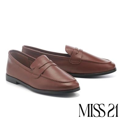 低跟鞋 MISS 21 復古簡約奶奶風全真皮樂福低跟鞋-咖