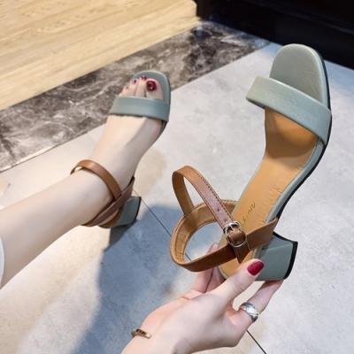 KEITH-WILL時尚鞋館 獨家價賣瘋了小厚跟美腿涼鞋-綠