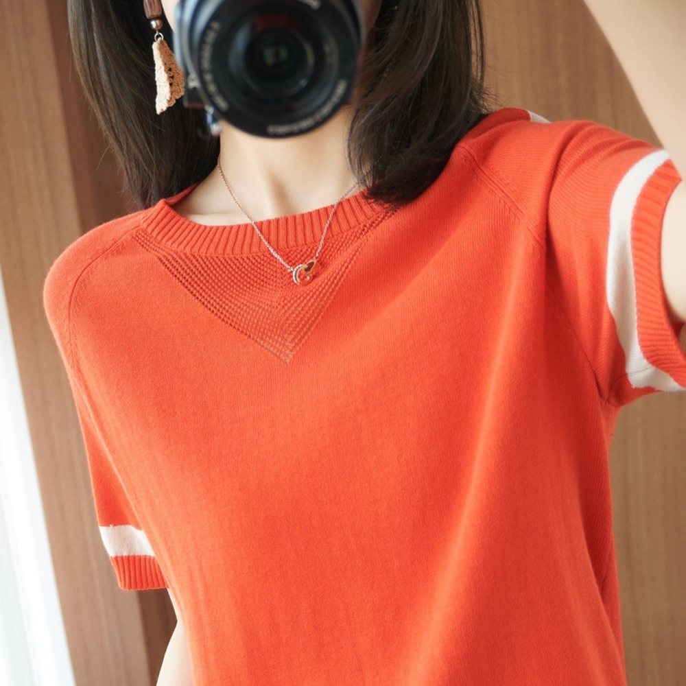ALLK 歐楷 超彈力配色針織上衣 共11色(尺寸F 任選) (橘色)