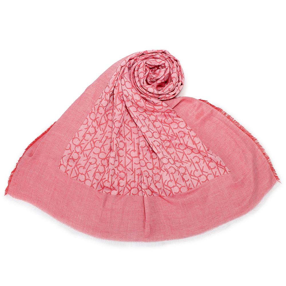 Calvin Klein CK滿版LOGO絲質披肩圍巾-珊瑚紅 @ Y!購物