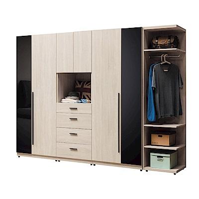 文創集 阿爾比8.6尺開門衣櫃(吊衣桿+抽屜+玻璃鏡面飾板)-257x58x197cm免組
