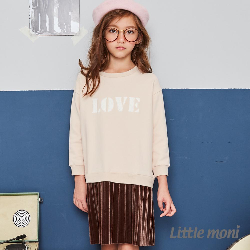 Little moni 刷毛假兩件百褶刺繡洋裝(共2色)