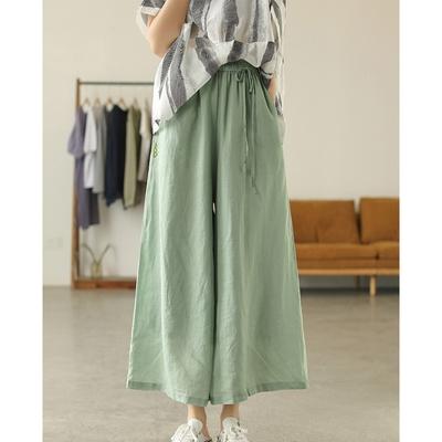 雙層復古高腰苧麻刺繡褲裙四色可選-設計所在