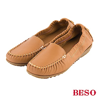 BESO 簡約知性 牛皮素面縫線懶人鞋~茶