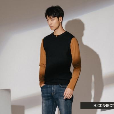 H:CONNECT 韓國品牌 男裝-基本素面針織背心-黑