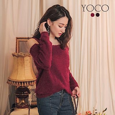 東京著衣-yoco 時髦韓妞露肩毛毛海針織長袖上衣-S.M.L(共二色)