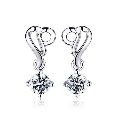 米蘭精品 925純銀耳環-幾何線條鑲鑽耳環