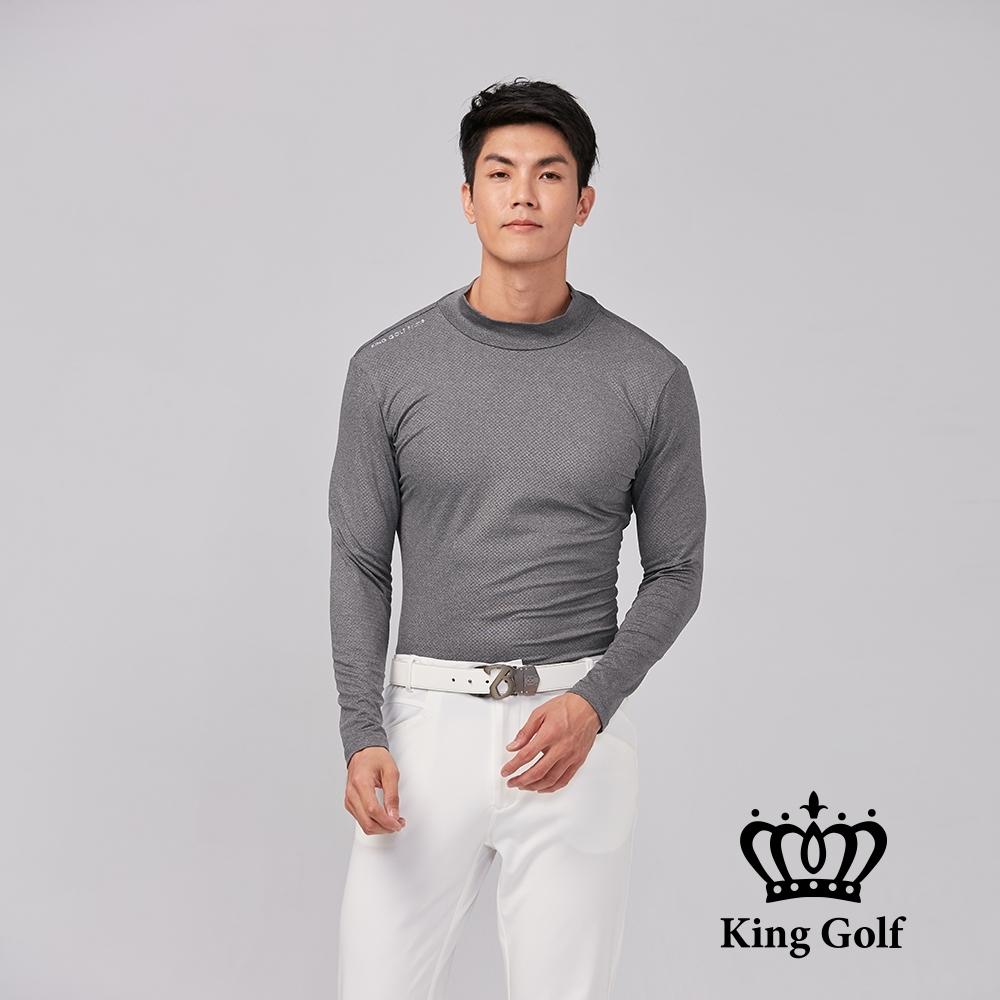【KING GOLF】膠標LOGO素面刷毛款長袖內搭高領衫-灰色