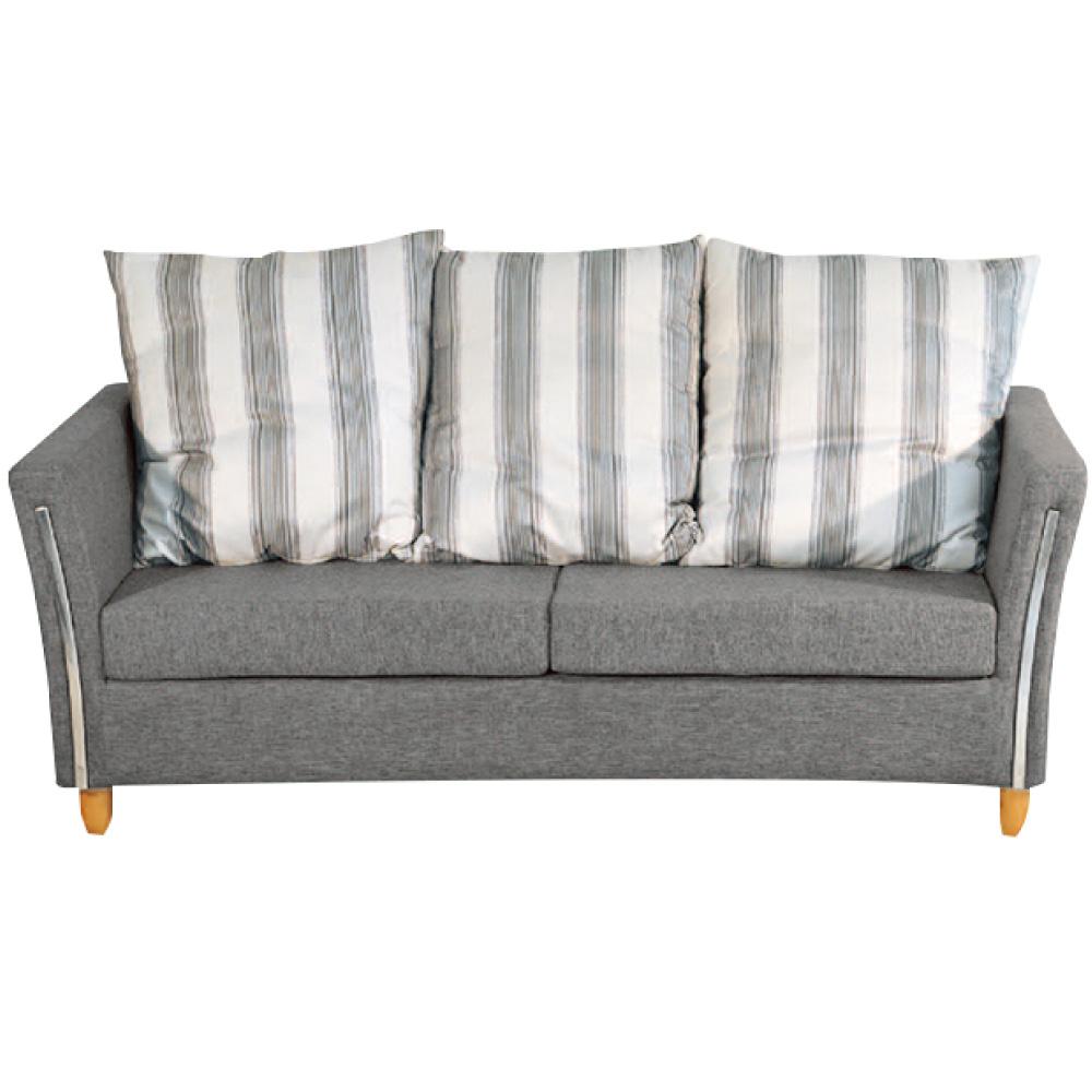 綠活居 班加卡時尚灰亞麻布三人座沙發椅-191x84x87cm免組