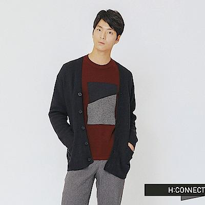 H:CONNECT 韓國品牌 男裝-排釦口袋針織外套-藍