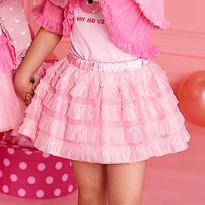 WHY AND 1/2 壓摺燙鑽網紗短裙-內短褲 5Y~10Y
