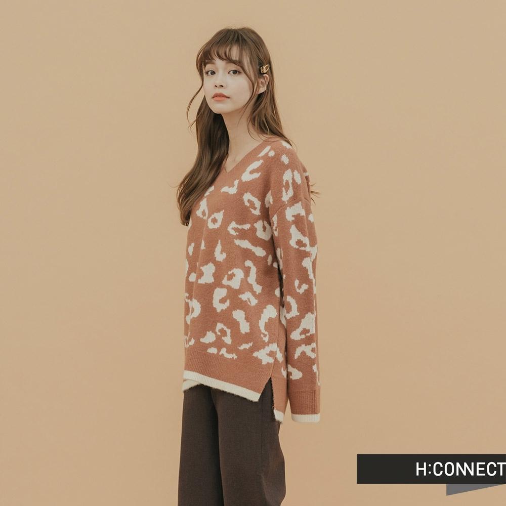 H:CONNECT 韓國品牌 女裝 - 撞色豹紋滾邊針織上衣 - 橘