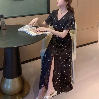 2F韓衣-簡約印花飄逸修身造型洋裝-黑色(S-2XL)