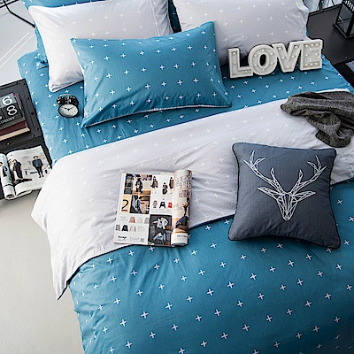 OLIVIA  阿波羅 藍 加大雙人床包被套四件組 200織精梳純棉