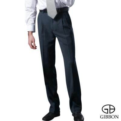 GIBBON 時尚沉穩靛藍條打摺西裝褲‧深藍