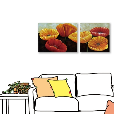 24mama掛畫-二聯式 紅黃花卉 油畫風無框畫 80x60cm+60x60cm-精彩