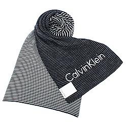 Calvin Klein CK 細橫紋拼色亮眼LOGO針織圍巾-黑灰色