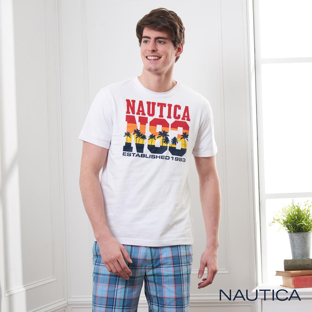 Nautica 夏威夷風繽紛圖騰短袖T恤-白