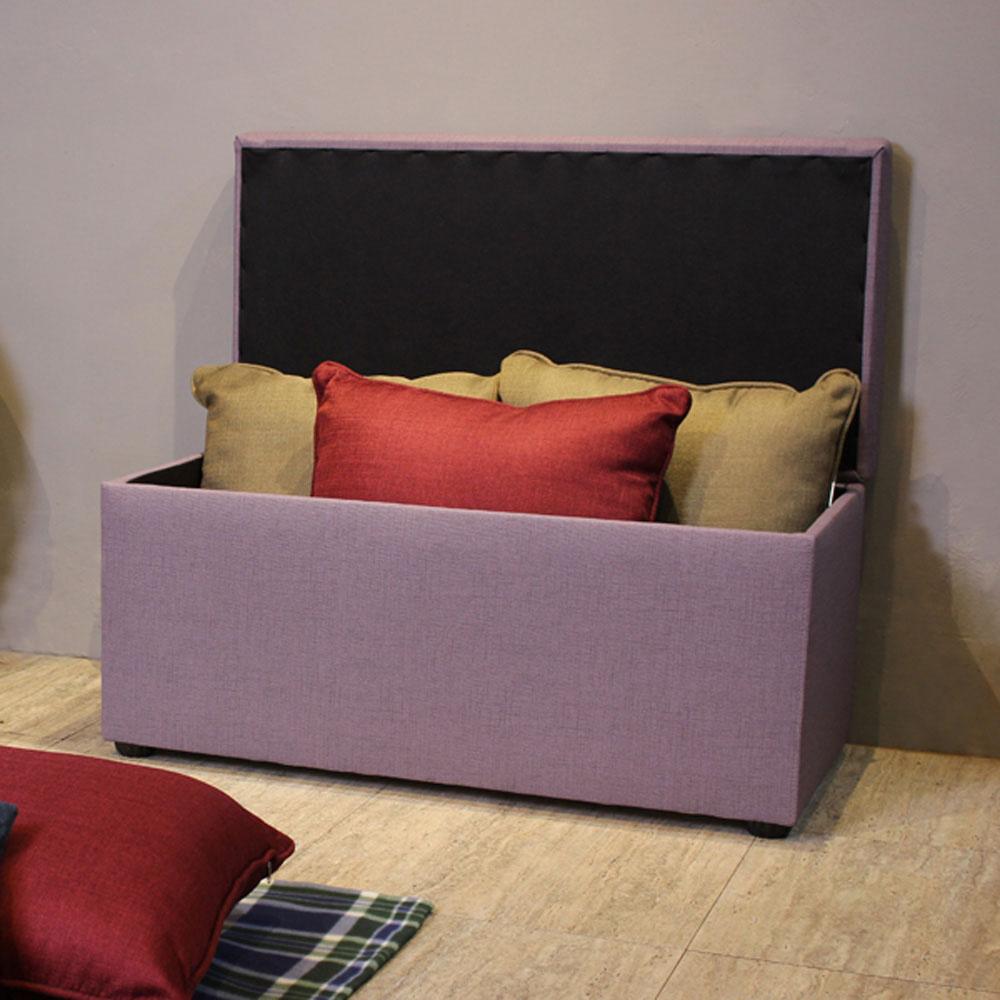 Asllie貝琪掀蓋收納長椅/腳凳/床前椅/沙發椅凳(貓抓皮)-紫色