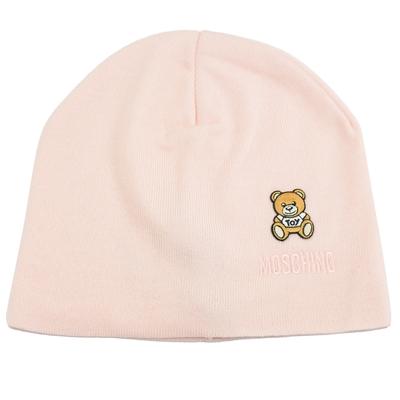 MOSCHINO TOY小熊電繡布貼羊毛針織毛帽(粉)