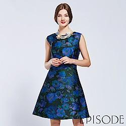 EPISODE - 高貴滿版花卉修身洋裝(藍)