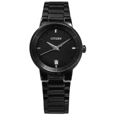 CITIZEN 礦石強化玻璃日期視窗女錶(EU6017-54E)-鍍黑/27mm @ Y!購物